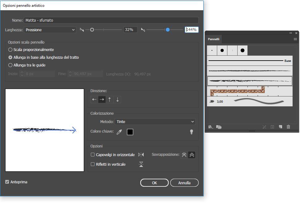 Adobe Illustrator tutorial - Pennelli Artistici settaggi settaggi