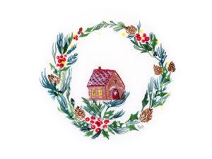 Biglietto di Natale dipinto a mano ad acquerello - Casa