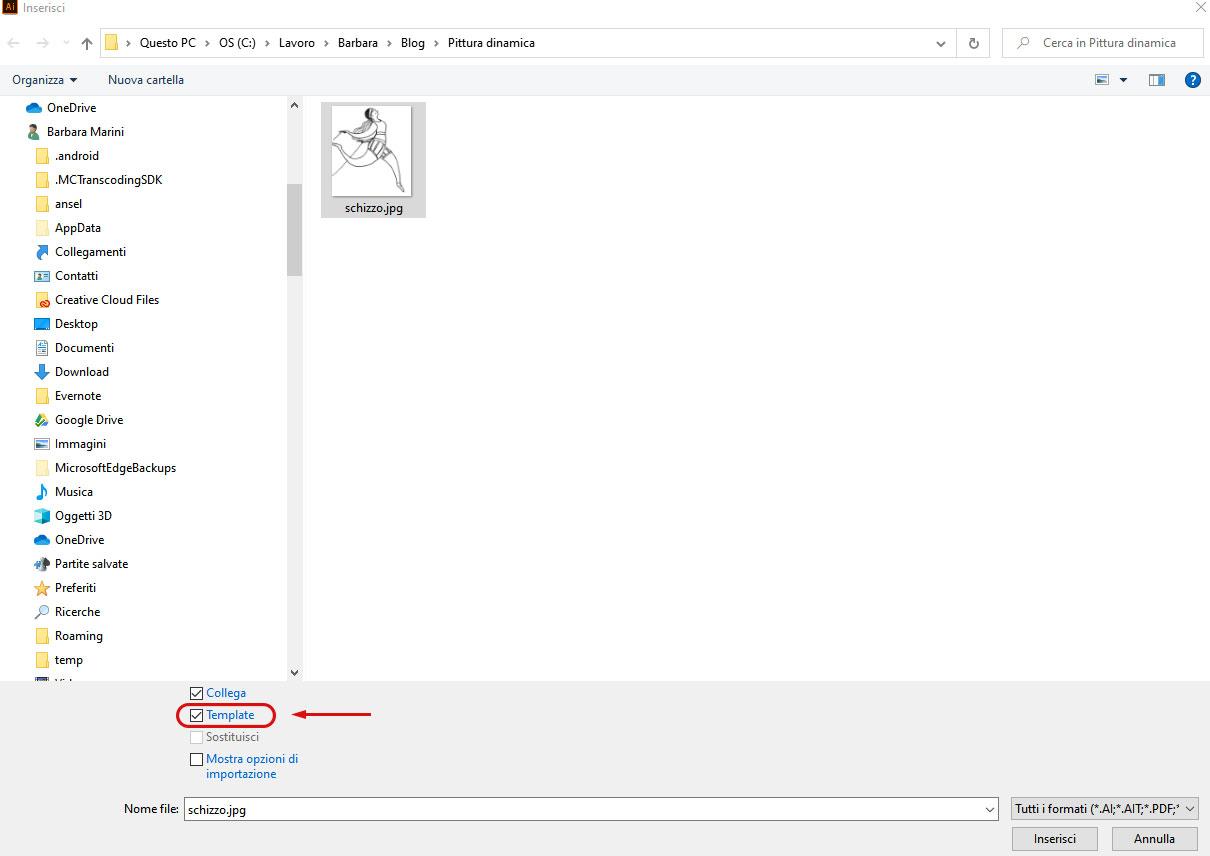 Dallo schizzo all'illustrazione definitiva con Adobe Illustrator: inserisci template