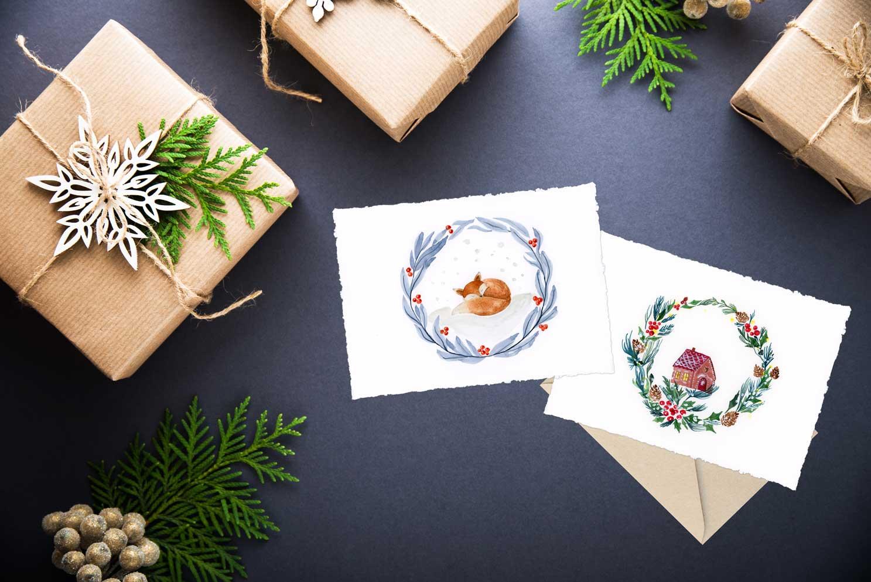Biglietti di Natale ad acquerello - download gratuito