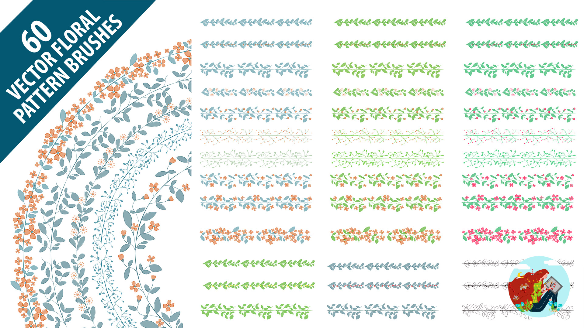 Set di pennelli pattern vettoriali per illustrazioni in Adobe Illustrator