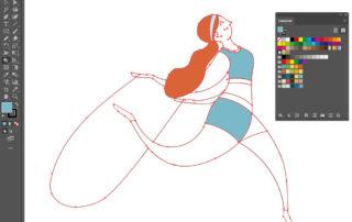 Pittura dinamica per colorare illustrazioni vettoriali