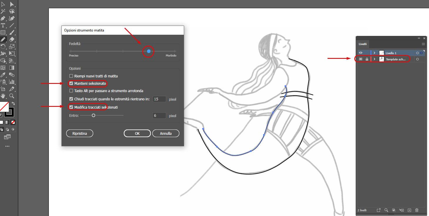 Strumento matita in Adobe Illustrator per realizzare un'illustrazione vettoriale
