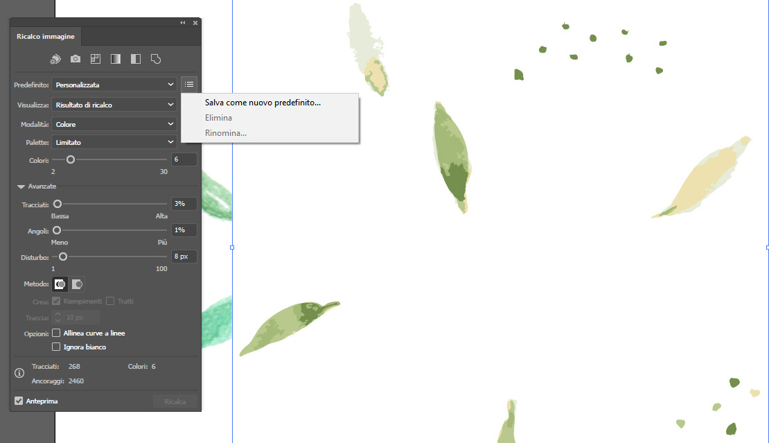 Strumento Ricalco immagine di Adobe Illustrator salvare un predefinito