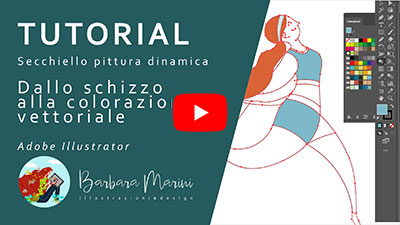 Video tutorial su YouTube per imparare a rifinire e colorare illustrazione vettoriale
