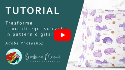 Copertina video tutorial youtube su come creare un pattern in Photoshop da un acquerello
