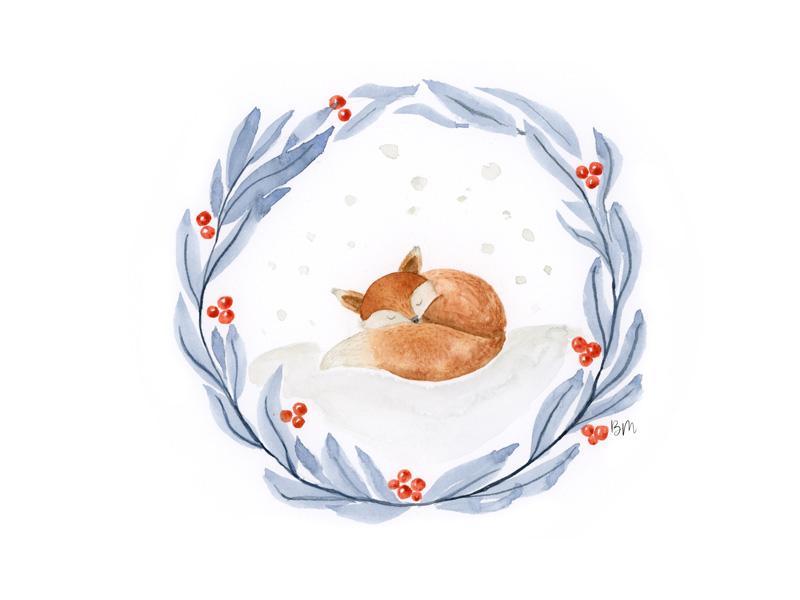 Biglietto di Natale dipinto a mano ad acquerello - Volpe